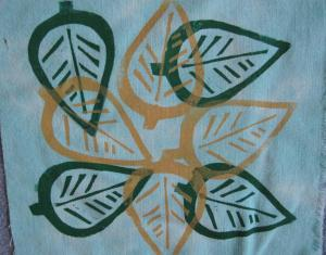 leaf silk screen 2 colors
