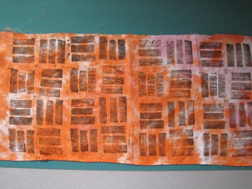 stamping on orange damask