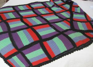 Striped squares wool crocheted throw
