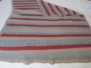 Striped wool crocheted throw