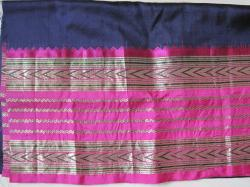 Navy pink sari silk
