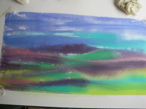 Painted landscape wet