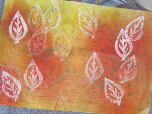 leaf stamped interfacing