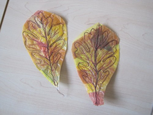 leaves sewn with solvy