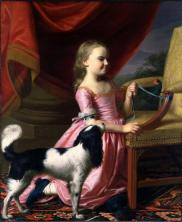 young lady with a bird and dog Copley